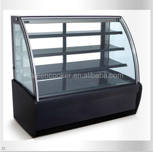 refrigerating showcase for displaying cakes with arc glass (open door in the front)