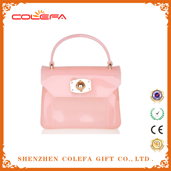 High Quality Jelly Color PVC Clear Designer Handbag for Woman