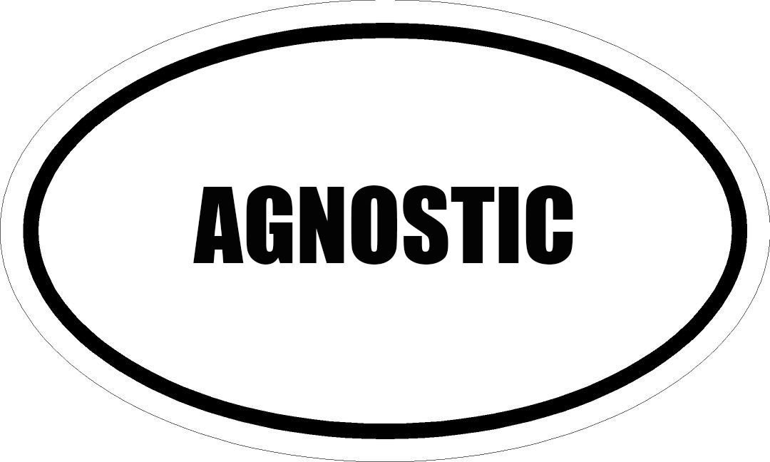 "6"" PRINTED white vinyl AGNOSTIC oval Euro impact style vinyl decal sticker"