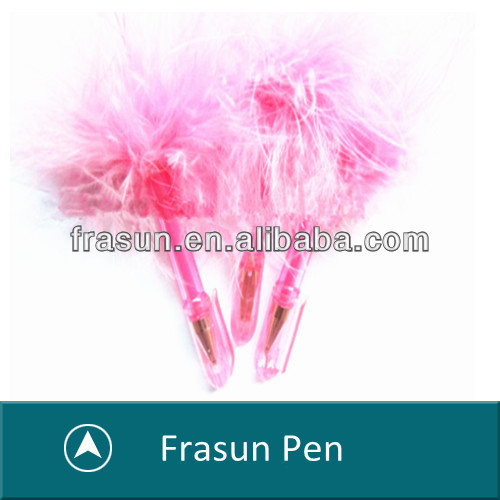 Lovely Pink Feather Ball Pen ,Nice Gift Promotional Mini Clip Pen