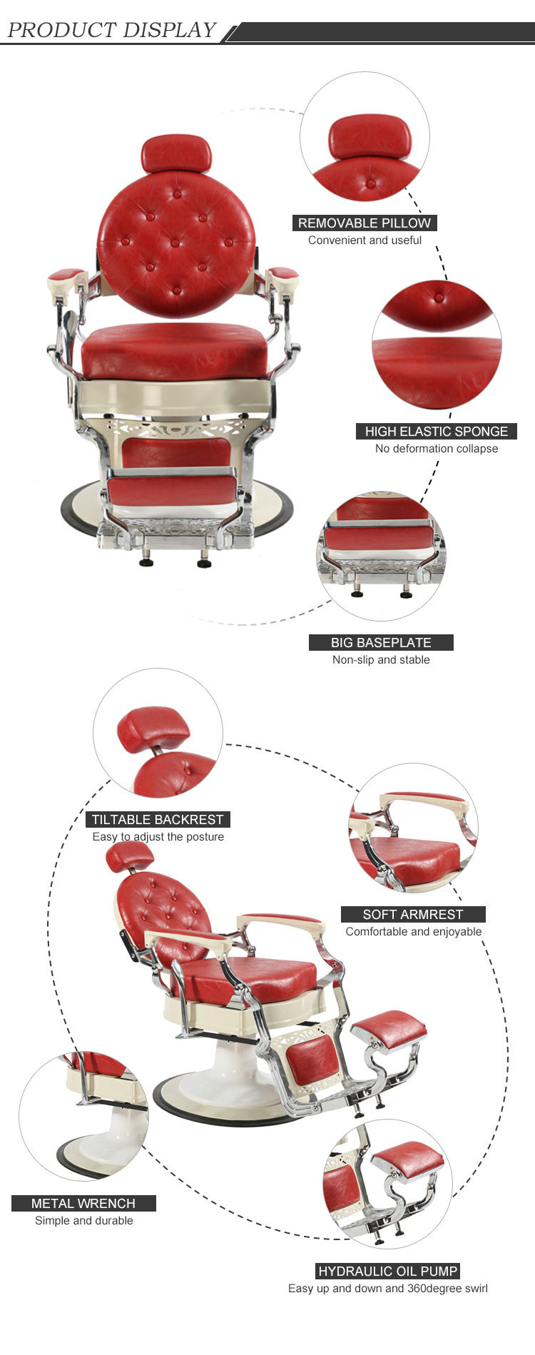 Factory Price Royal Design classic Barber Chair