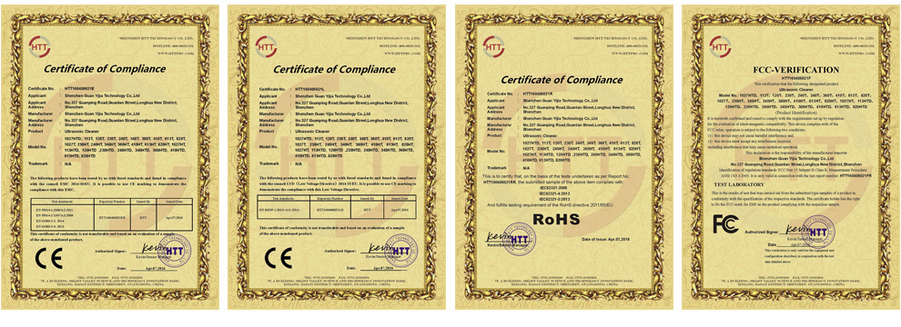 Ultrasonic Cleaner CE Certificates