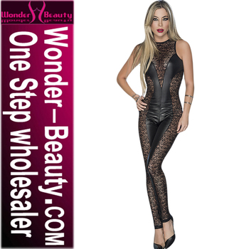 Black Women's Sexy Lace Patchwork Leather Leather Body Wetlook Night Club Jumpsuit