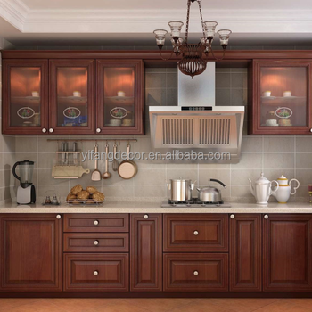 2018 Wholesale Price New Model PVC Brown Color Modular Kitchen Cabinet  Designs Budget Hotel Kitchen Furniture