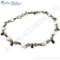 Truly Designer Garnet & Pearl Gemstone Silver Necklace, Indian Ethnic Silver Jewelry