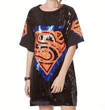 Платье для танца в стиле хип-хоп, Повседневное трикотажное длинное платье из полиэстера с рисунком единорога, Kpop, Супермена, джаза, 2019(Китай)