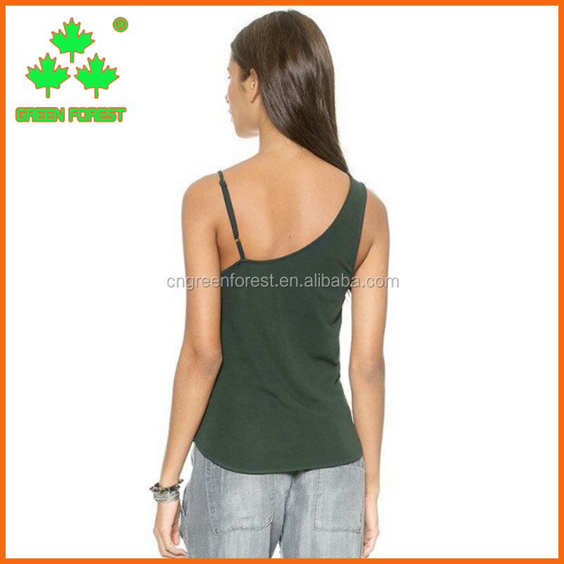 women asymmetrical shoulder strap tank top