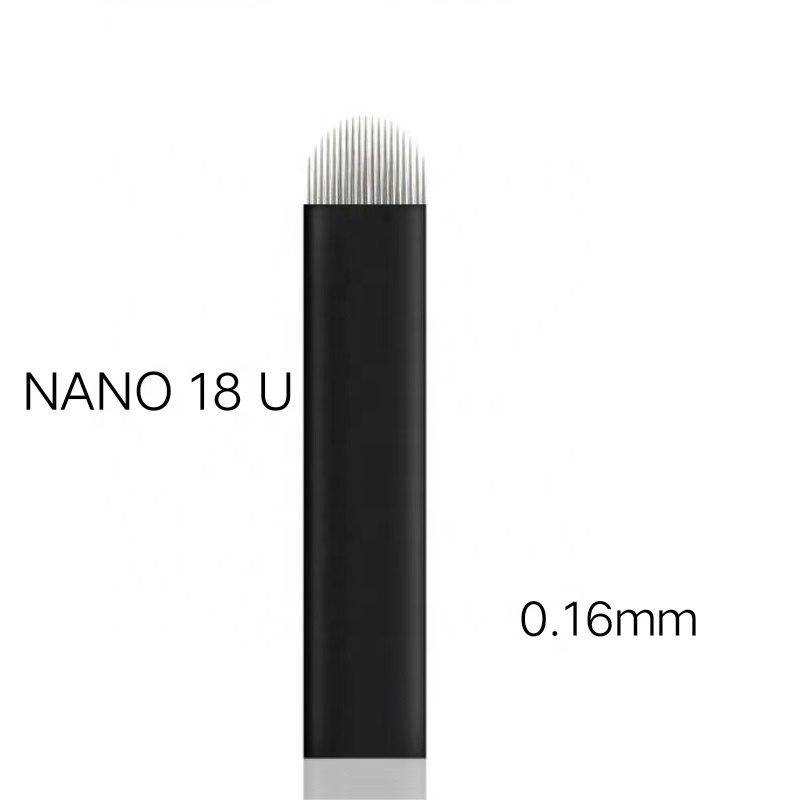 NANO 0,16mm Sharp Microblading Nadeln U Form 18 Pins Klingen Tattoo Private Label Für Dauerhafte Stickerei