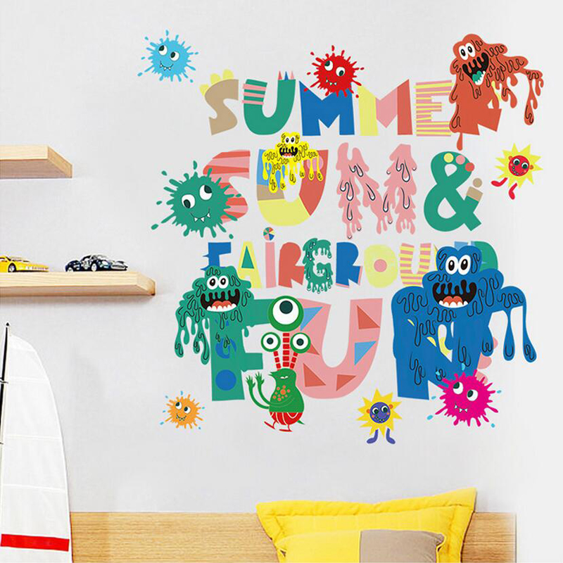 kids room 3d monster wall stickers for child room
