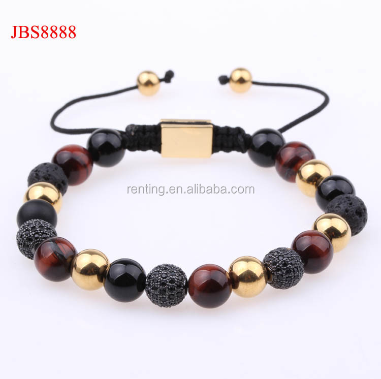 Red tiger eye stone beads black diamond ball macrame bracelet