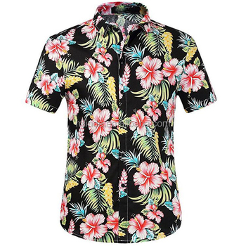 a127c639bc9e2 Cheap Wholesale Hawaiian Costumes 100% Cotton Straight Fit Button Front Short  Sleeve Printing Casual Hawaiian