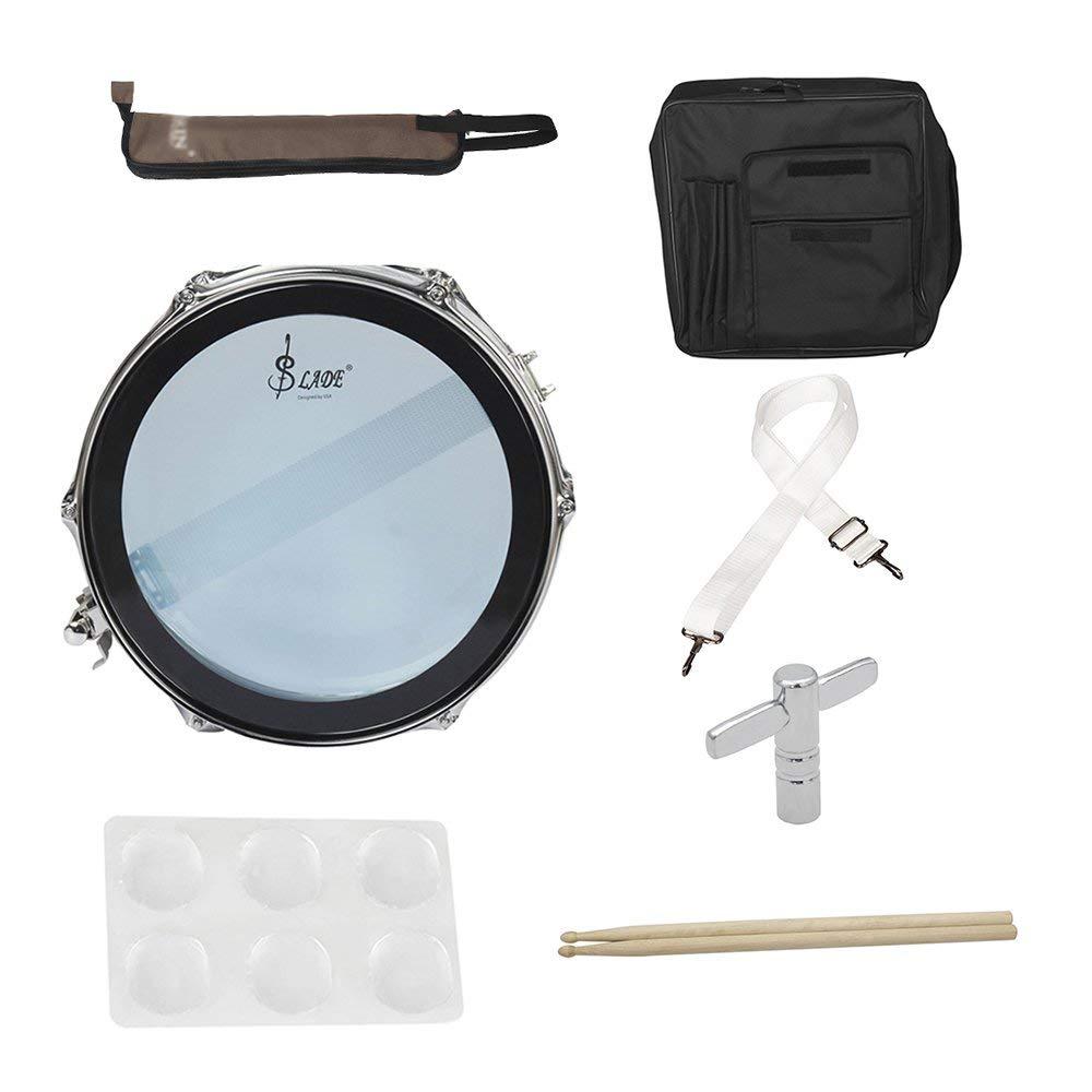 Muslady 14 in/inch Snare Drum Kit Stainless Steel Drum Body PVC Drum Head with Drum Bag Strap Drumsticks Drumstick Bag Drum Damper Gel Pads