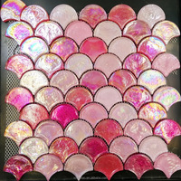 Pink Fan Fish Scale Glass Iridescent Mosaic Pool Tiles