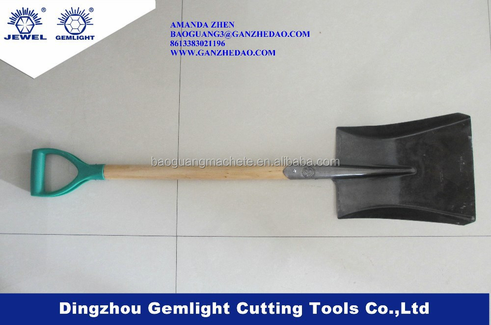 steel shovel/spade head with long wooden handle S501