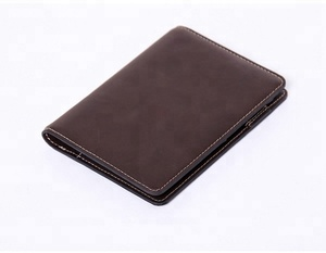 Fashionable new style passport holder genuine leather passport wallet travel card holder with pen loop