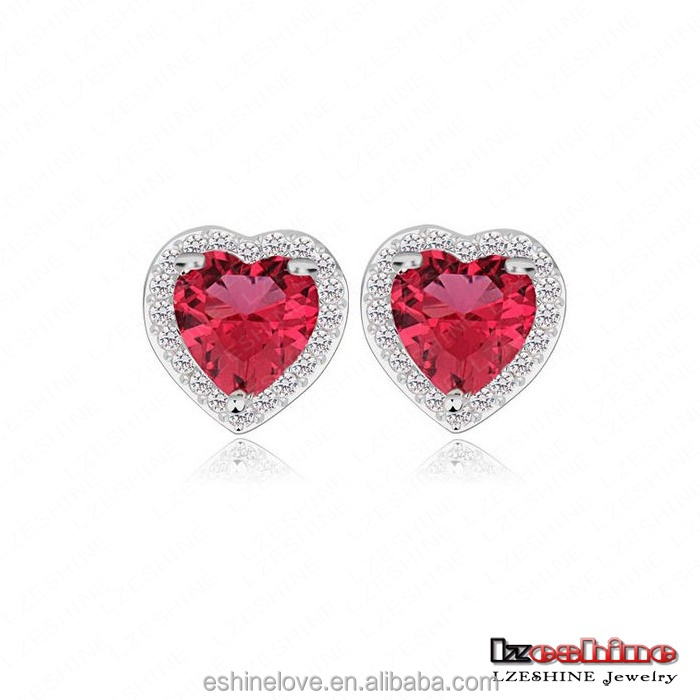Red Heart Zircon Stone Love Stud Earring For Women Birthday Gift Jewelry CER0100-B