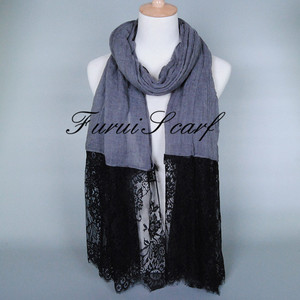 Wholesale scarfs shawls long black lace wrap turban muslim women with large viscose fiber cotton headscarf hijab