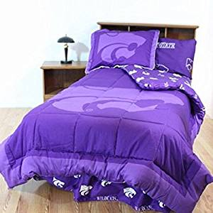 Kansas State Wildcats (5) Piece FULL Size Reversible Comforter Set - Set Includes: (1) FULL Size Comforter, (2) Shams and (2) Standard Size Solid Color Pillowcases