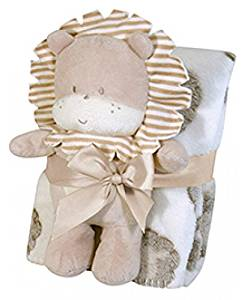 Stephan Baby Super-soft Coral Fleece Crib Blanket and Plush Toy Gift Set, Larry The Lion by Stephan Baby