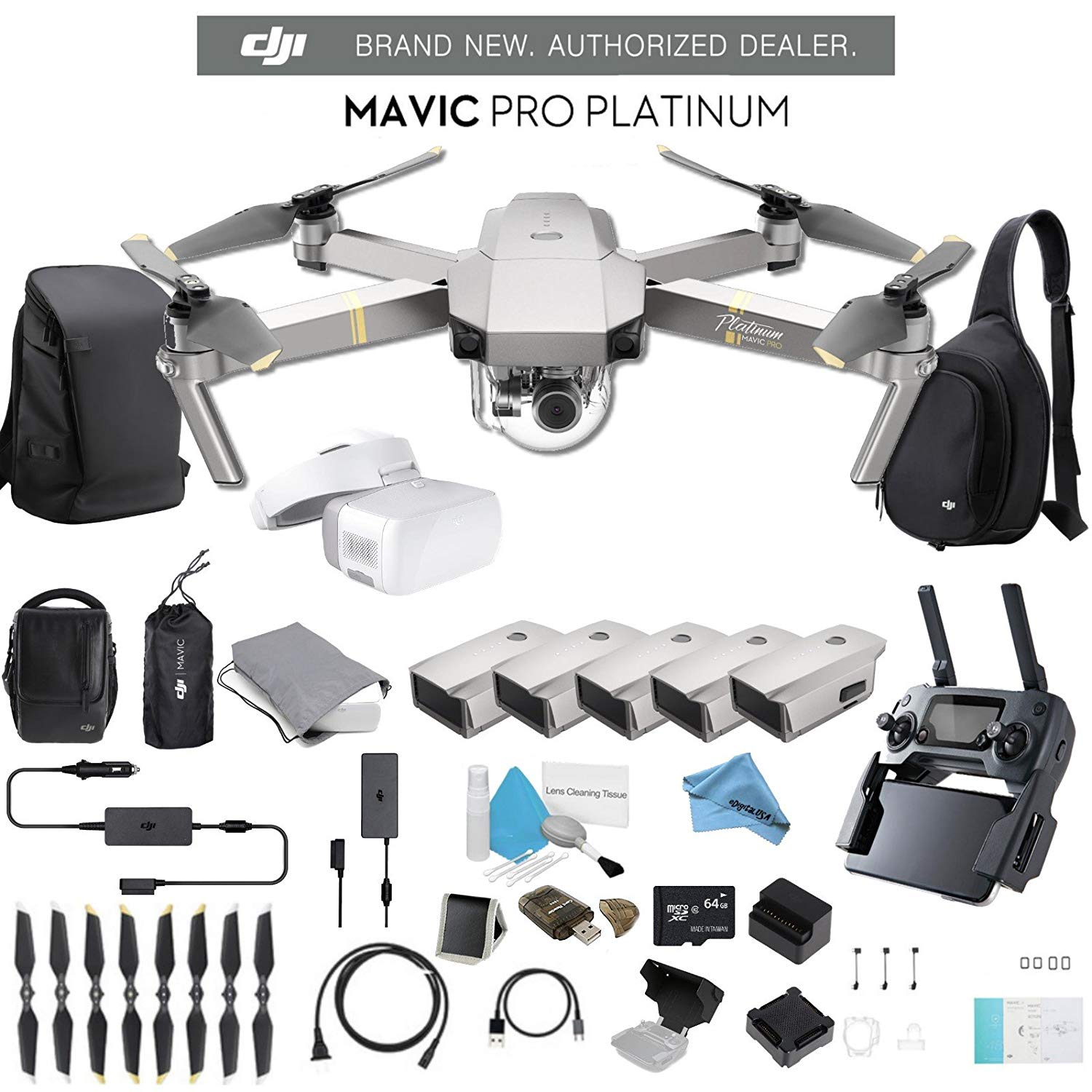 DJI Mavic Pro Platinum Fly More Combo CP.PT.00000069.01 + FPV Goggles + 2 DJI Intelligent Flight Battery for Mavic Pro Platinum ( 5 Total) + Carrying Case and Much More.