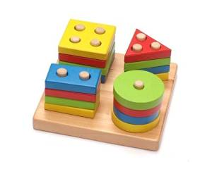 Shopready Colorful Children's Wooden Toy Hole Cube for Shape Sorter Stack Puzzle Tray Educational Toys Intelligence Early Learning Geometry Match Cognitive Box Game Building Blocks