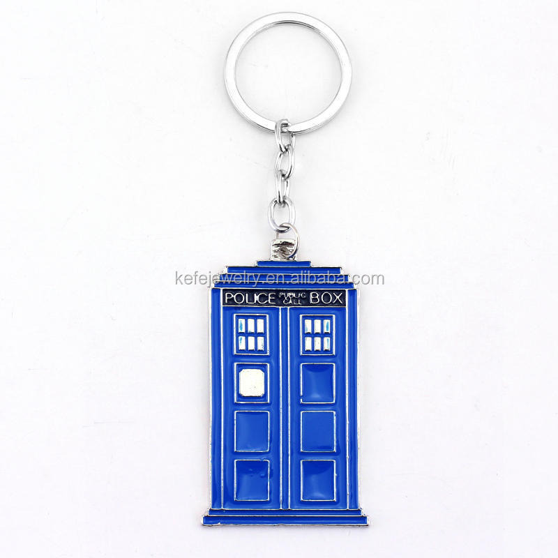 Doctor Who Inspired Police Box Blue Tardis Metal Pendant Keychain