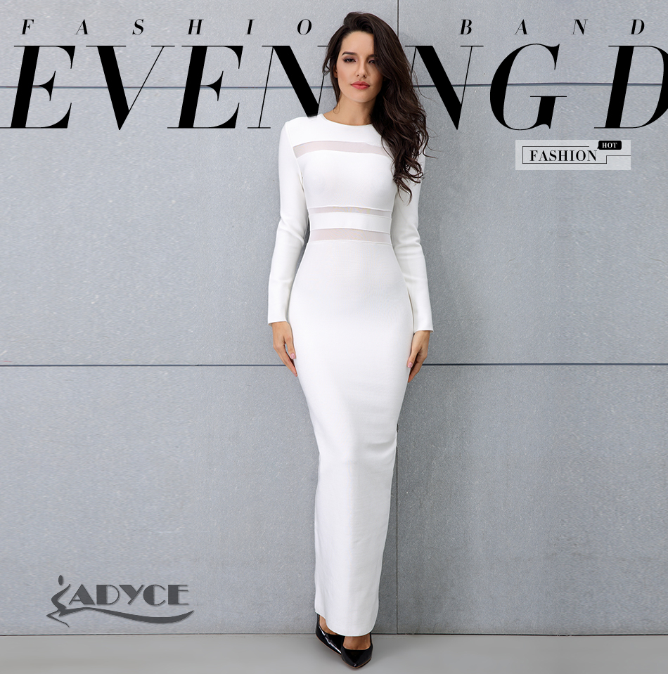 f0797cdb317 Adyce 2018 New Women White Long Sleeve Maxi Dress Sexy Winter Long ...
