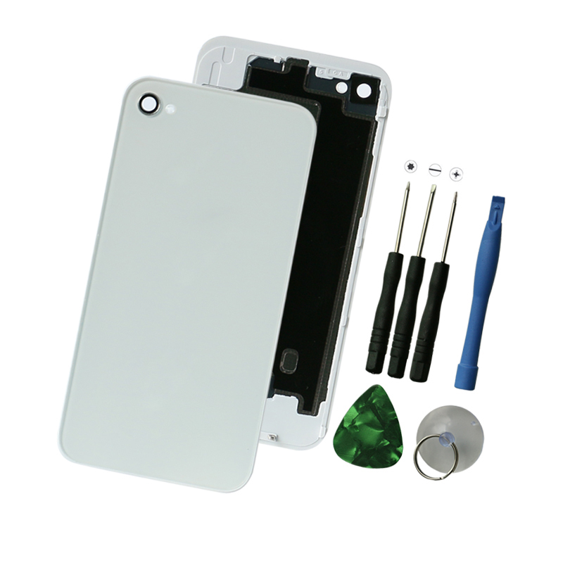OEM Battery Cover For iPhone4 4G , Black/White Back Cover Door Rear Panel Plate Glass Housing Replacement with Tools