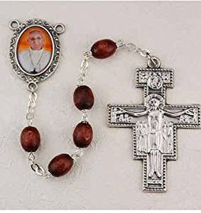 Pewter Pope Francis Rosary Brown Wood Rosary Beads Pewter Crucifix and Center 6x8mm Deluxe Gift Box Included