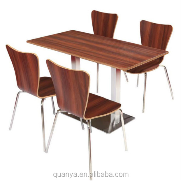 KFC melamine wooden dining table set with four seat chairs