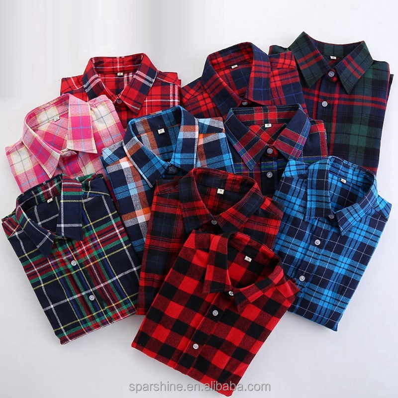 2016 Wholesale Autumn Casual Long Sleeve Shirt Plaid 100% <strong>Cotton</strong> Fashionable <strong>Ladies</strong> <strong>Blouse</strong>