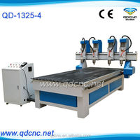 four heads 3d cnc router, cnc wood cutter / engraver QD-1325-4 woodworking machine price