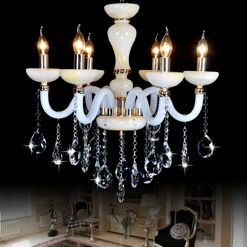 Dining Room Modern Crystal Chandeliers: Modern Led Chandelier Imitation Jade Crystal Chandeliers