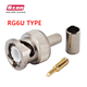RG59 RG6 BNC Male Crimp Solder Connector for RG6U Double Shield Coaxial Cable