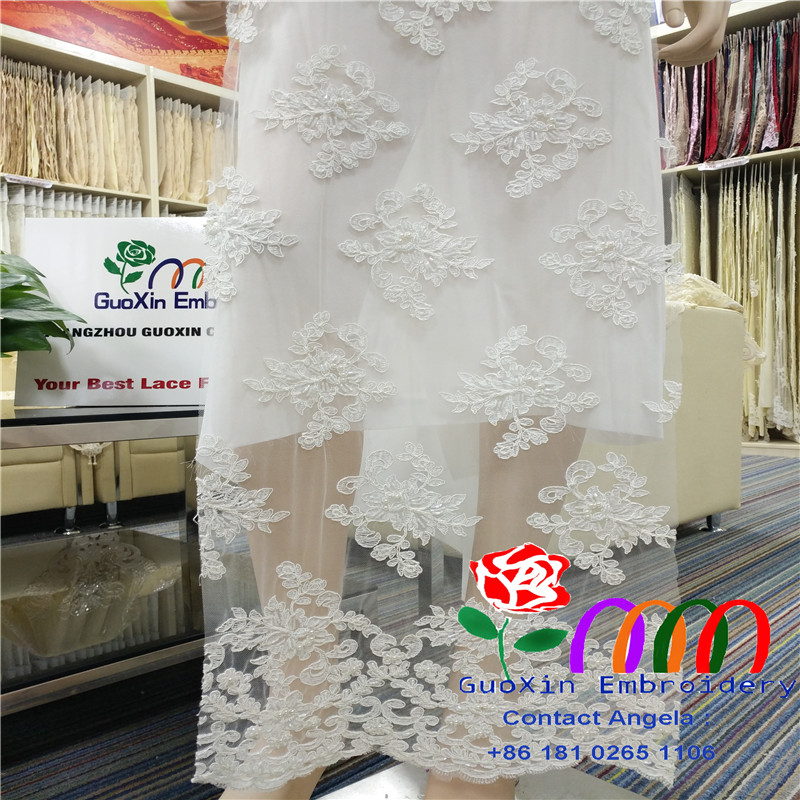 GuangZhou GuoXin off white embroidery lace fabric color,beaded lace dantel,fashion off white lace fabric for weddingdresses