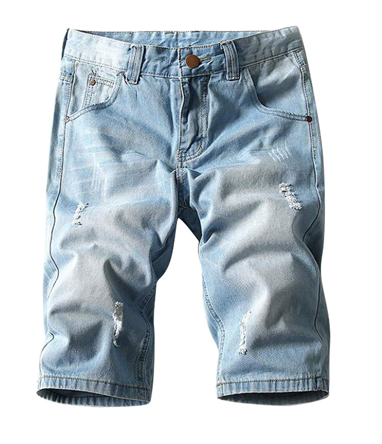 2f9dc48561 Get Quotations · XiaoTianXin-men clothes XTX Mens Classic Slim Fit Stretch  Denim Shorts Destroyed Straight Leg Jeans