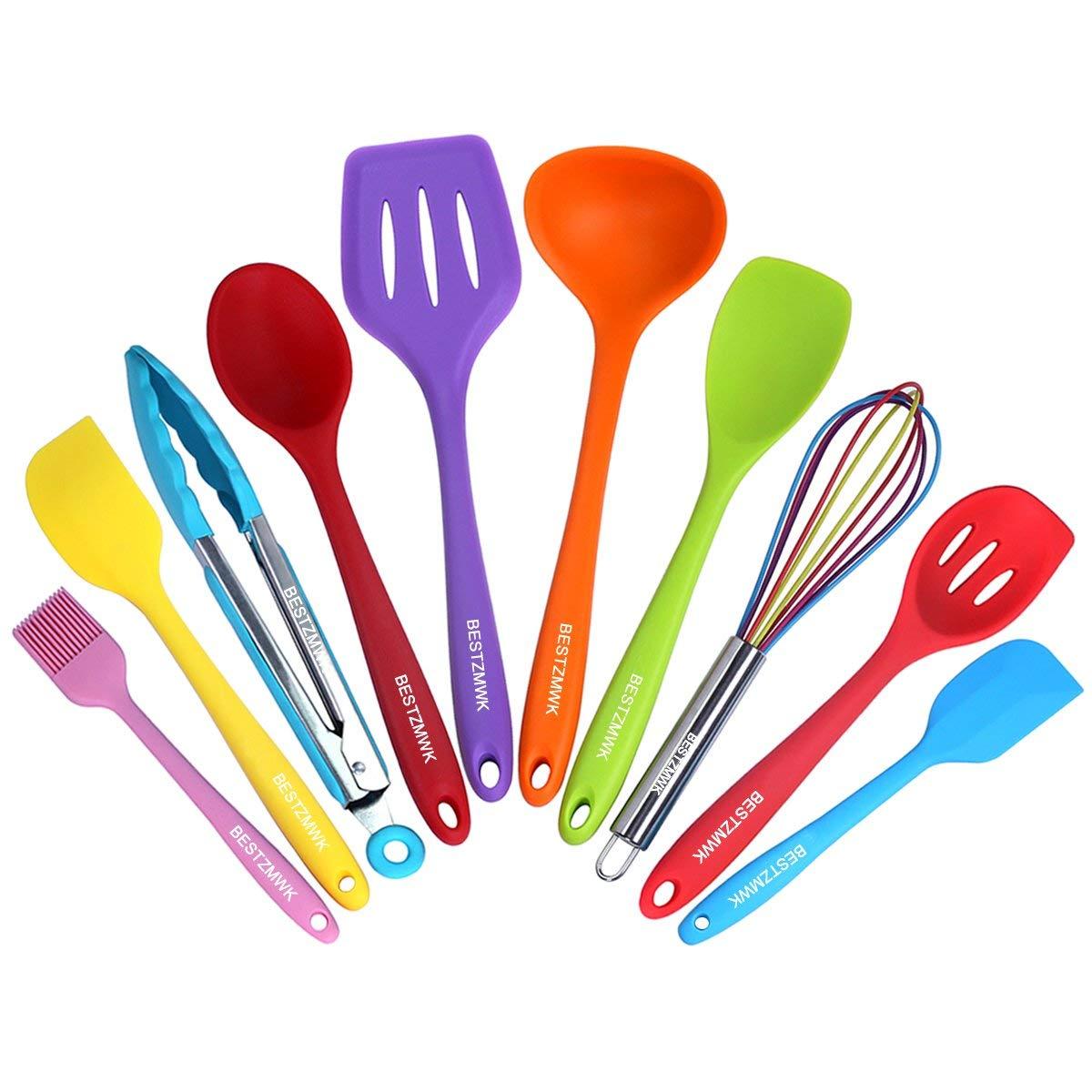 BESTZMWK Kitchen Utensil Set - 10 Cooking Utensils - Colorful Silicone Kitchen Utensils - Nonstick Cookware with Spatula Set - Colored Best Kitchen Tools Kitchen Gadgets