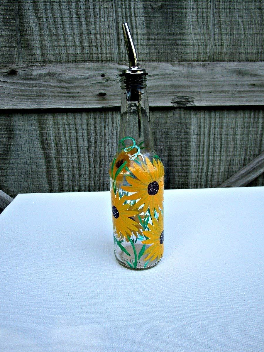 Dish Soap Dispenser, Oil and Vinegar Bottle, Hand Painted Glass Bottle, Kitchen Decoration, Big Yellow Flowers