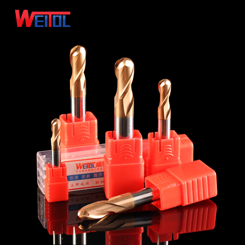 WeiTol best Carbide 2 flutes ball nose end mill bits for metal gold coating