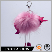 Fashion unique promotional design horse pink pom pom pendant fur ball key chain