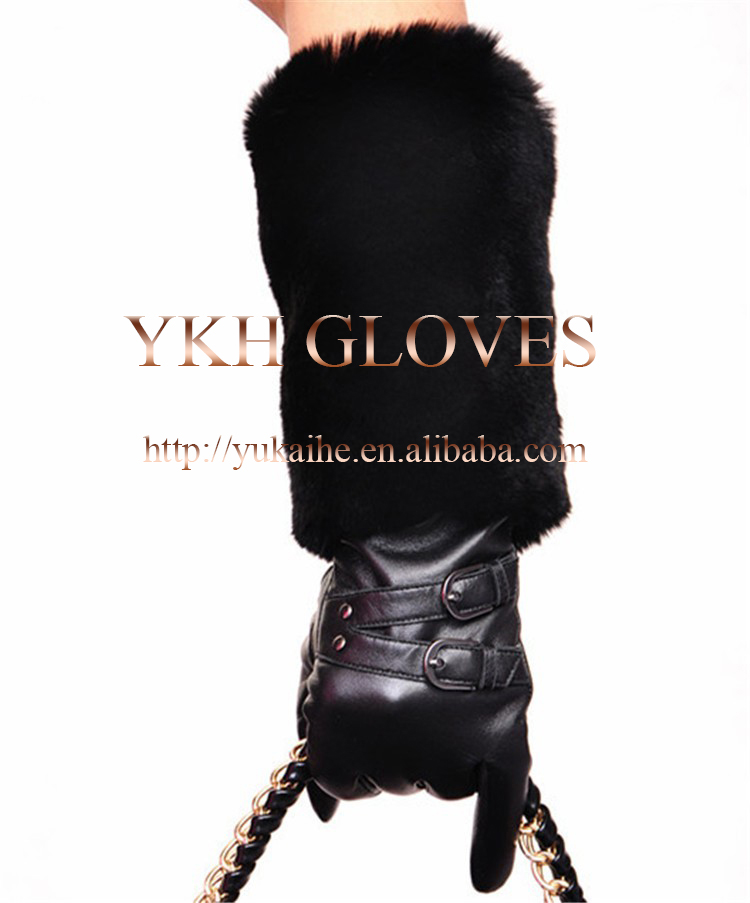 Womens genuine lambskin leather elbow length long evening dress gloves with fur