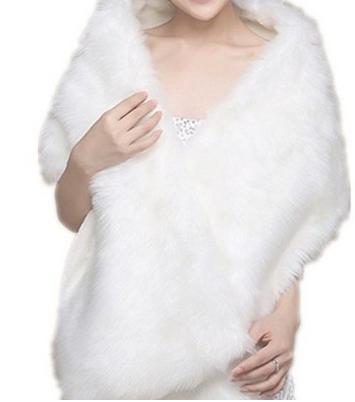 White Faux Fur Wrap coat Shawl