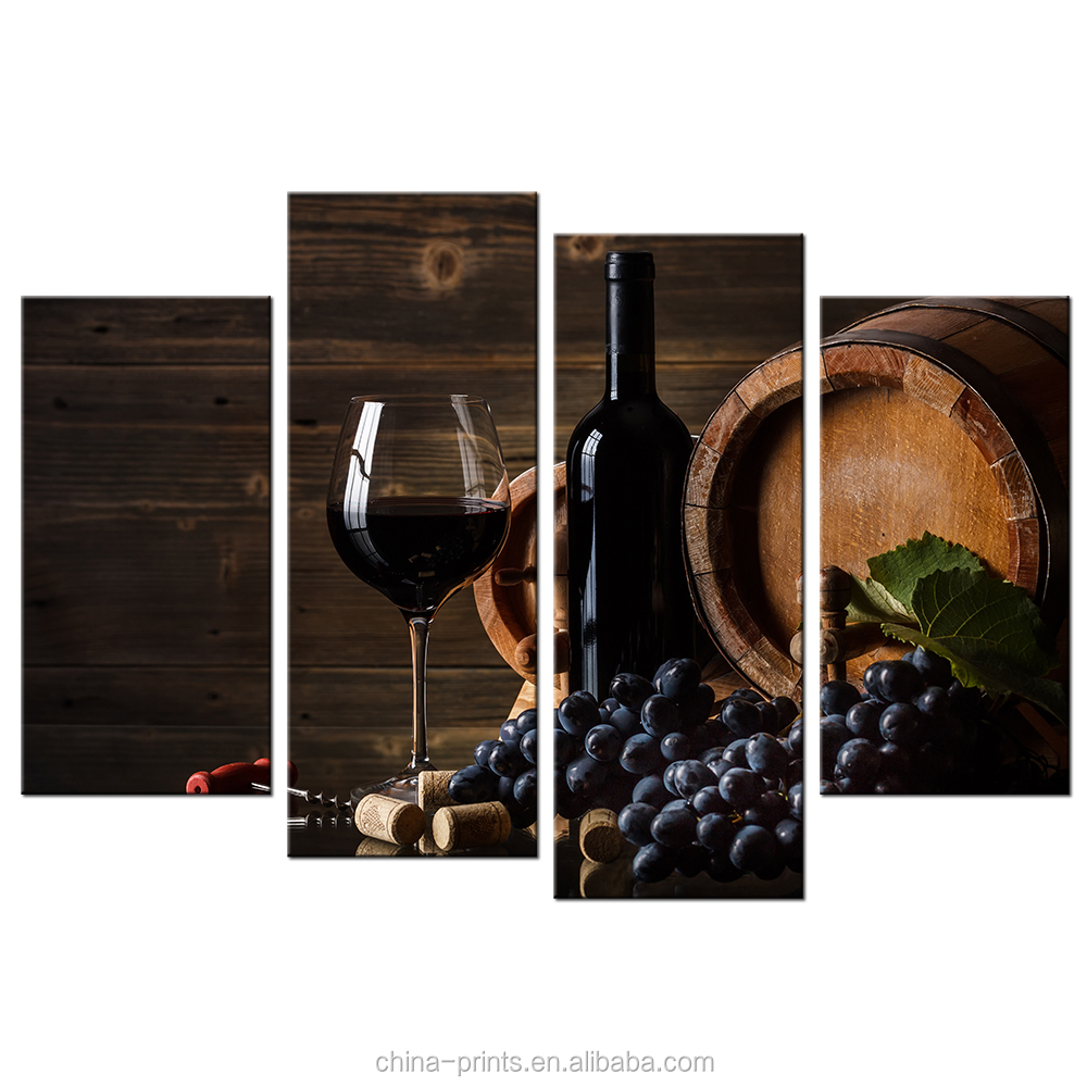 Red Wine Photo Print HD Custom Canvas Painting Prints Modern Bar Decoration Home Wall Decor 4 Panel Wholesale Framed Canvas Arts