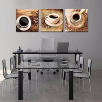 3 Panel Combination Cups Of Coffee And Coffee Bean Wall Art Modern Pictures Print On Canvas Paintings Sale For Home decor