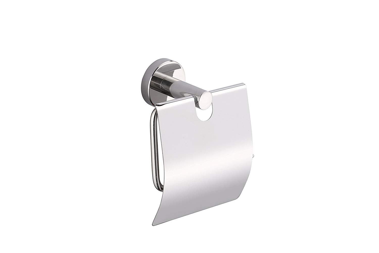 KTY Stainless Steel Toilet Paper Holder Single Roll with Cover, Polished SUS304 Stainless Steel