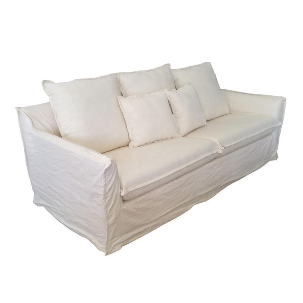 Elegant Linen Couch Strong Wooden Divan