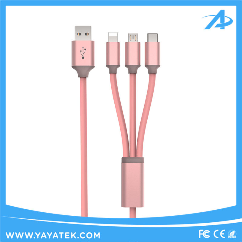 Usb cable, 3 in1 Multi-Function Durable TPE Micro USB charging Cable Cord For iPhone and Samsung smartphones
