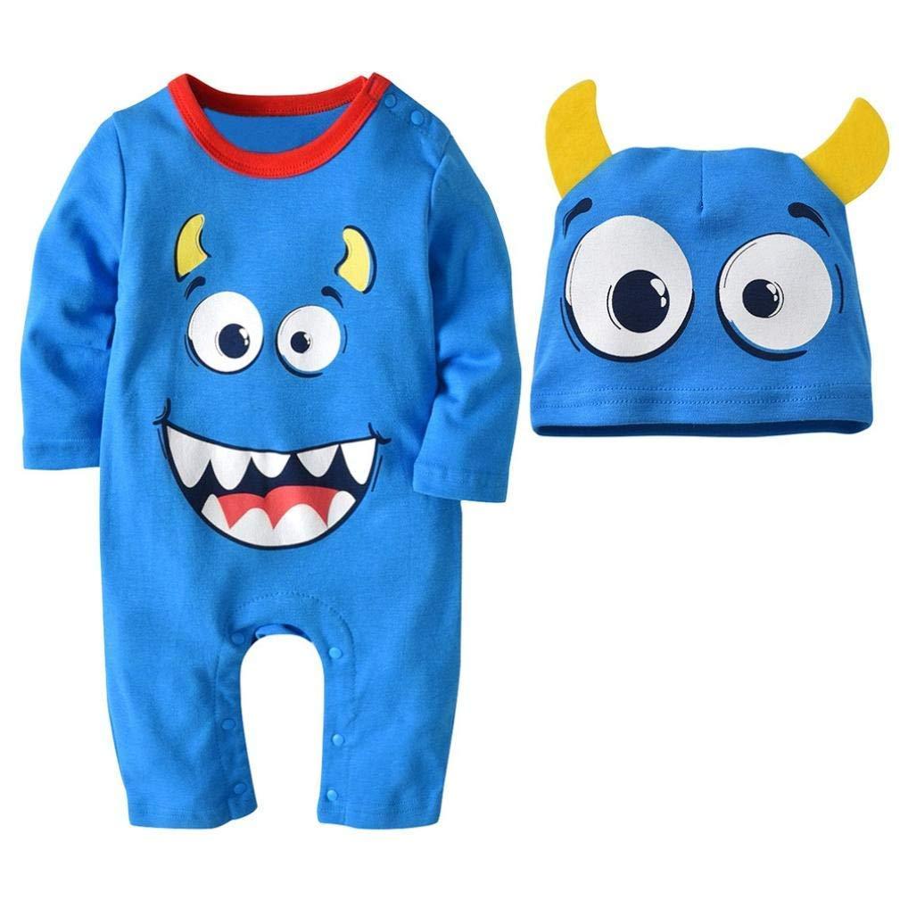 Halloween Baby Clothes Boys Girls Cute Cape Cartoon Print Romper Jumpsuit+Hat 2PCS Set Outfit (Suit 18-24 Months, Light Blue)