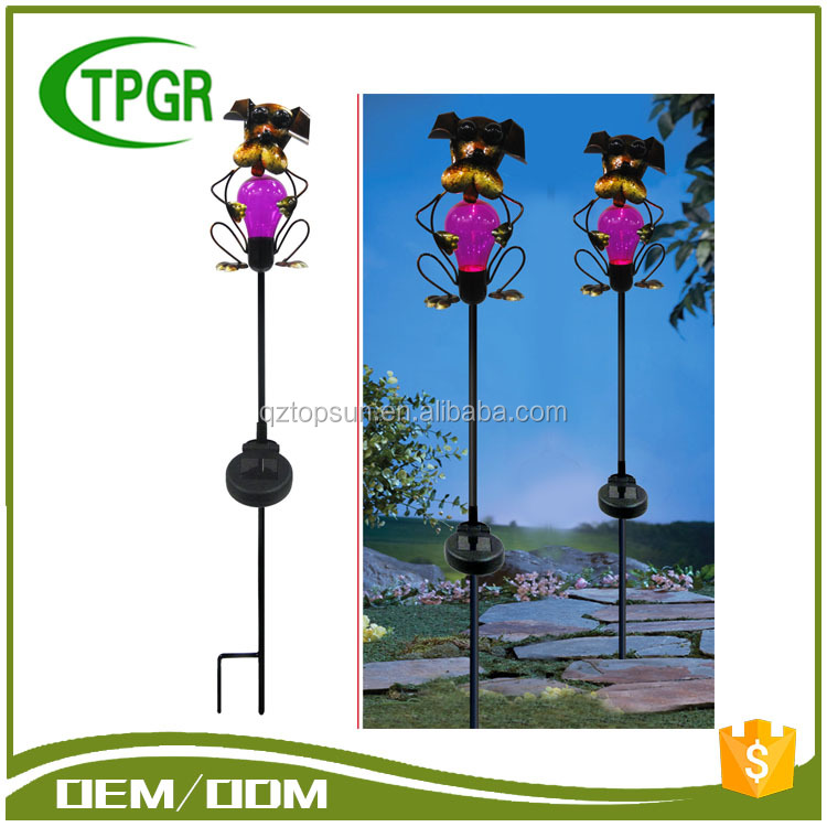 TG7691 Metal Animal Crafts Led Garden Solar Lamp With Low Price