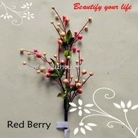 Spring Artificial Red and White Berry Flowers Sprays,artificial berry sprays